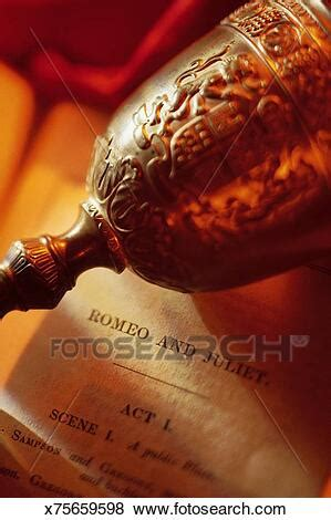 Goblet on Romeo and Juliet script Stock Photo | x75659598