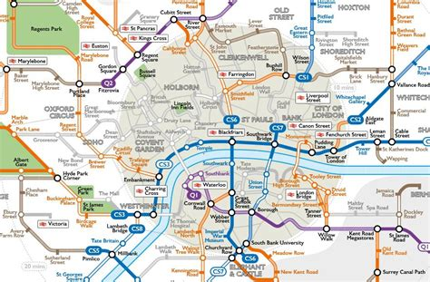 London's cycle network given the Tube map treatment   road