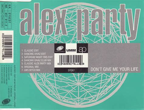 Alex Party - Don't Give Me Your Life (1995, CD)   Discogs