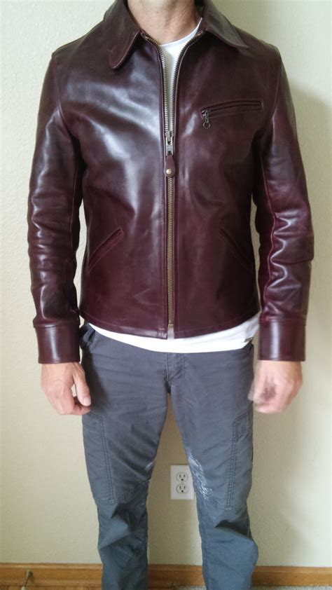 Schott Perfecto P653H Limited edition burgundy sunset back