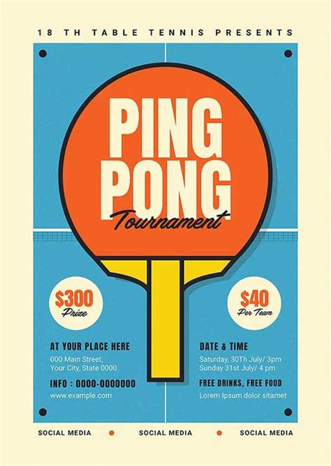 Download the Retro Ping Pong Tournament Flyer Template